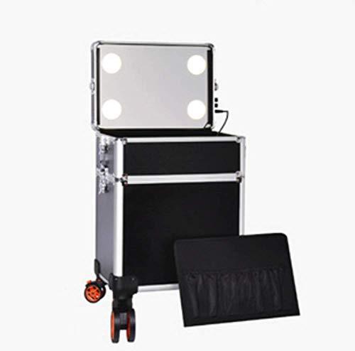 Maquillage Trolley 4-in-1 Lumières intégrées à LED - 3 couleurs de lumière - Pieds réglables - Rotation à 360 ° 4 roues - Trolley roulant à roulettes,Black,36x25x54cm