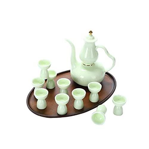 Botellas y juegos de sake Cerámica creativa Pote de boca largo conjuntos de vino de la casa China China Set de antigüedades 1x Hip Frasco 1x Taza de la bandeja 10x