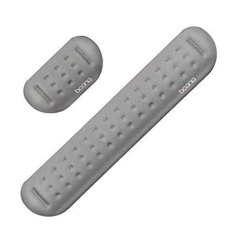 Baona Memory Foam Set Mauspad und Tastatur Handgelenkstütze Computer- und Laptop-Unterstützung - Bequemes und leichtes Design für einfaches Tippen (grau, M + S)