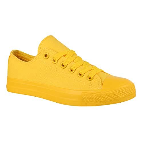 Elara Zapatilla de Deporte Unisex Textil Low Top Chunkyrayan Amarillo B338-B340 Yellow 089-A 38