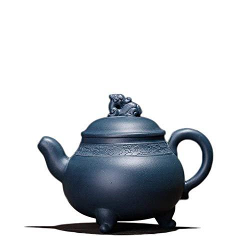 ADSE Tea Cup Green Clay Teapot Teapot Tripod Handmade Tea Maker Sand Pot (Color : E Blue)