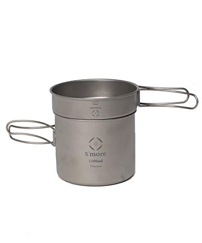S'more(スモア) Titanium Cooker Set キャンプクッカーセット チタン クッカー 2点セット 調理器具 チタンマグ チタンマグカップ シングル アウトドア キャンプ チタン食器 直火 折り畳みハンドル (M(350ml 1100ml