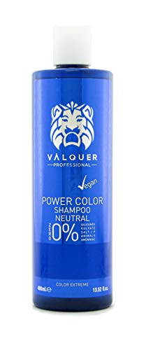Valquer Profesional Champú Power Color cabellos teñidos. Vegano Y Sin Sulfatos (Neutro). Potenciador color cabello - 400 ml.