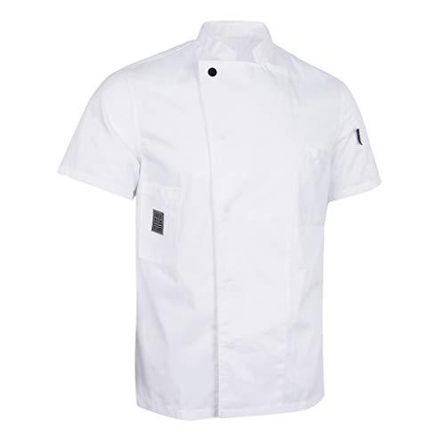 Baoblaze Cappotto Cameriere Manica Corta Cuoco Abbigliamento da Uomo Donne Chef - Bianca, M