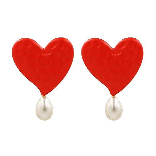 KAD Novedad Joyas-Pendientes para mujer Pendientes Pendientes Pendientes de gota Oreja, Pendientes de perlas pintados en forma de corazón Pendientes de aleación popular en rojo, eur