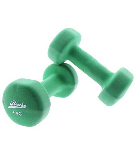Riscko Juego 2 Mancuernas Verdes de Neopreno de 4 kg
