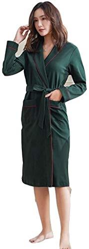 PATA Pijamas Pijamas Albornoz sexy para hombre, camisón para parejas, cuello de botón, pijama de algodón de manga larga kimono japonés (color: mujer, talla: XL)