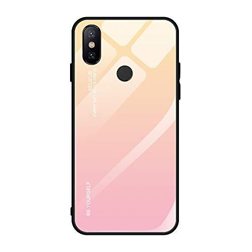 Alsoar Funda Compatible/Reemplazo para Xiaomi Mi MAX 3 Cubiertas Vidrio Templado Cubierta Trasera Gradiente Color + Suave Silicona Borde de TPU Bumper Protectora Carcasas Case (Rosa Amarillo)