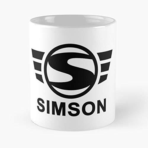 Simson Logo Black - Taza de café de cerámica blanca de 11 oz para hombres, mujeres, niños y niñas.