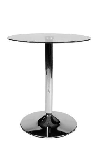 CLP Tavolo in Vetro Rotondo di Sicurezza Ø 60 CM, H 70 CM I Tavolo da Bar con Piedistallo in Metallo Cromato I Tavolino Appoggio Moderno Vetro Chiaro