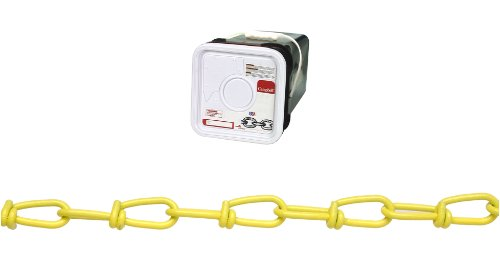 Campbell PD0752496 Low Carbon Steel Inco Double Loop Chain in Square Pail, Yellow Polycoated, 2/0 Trade, 0.14