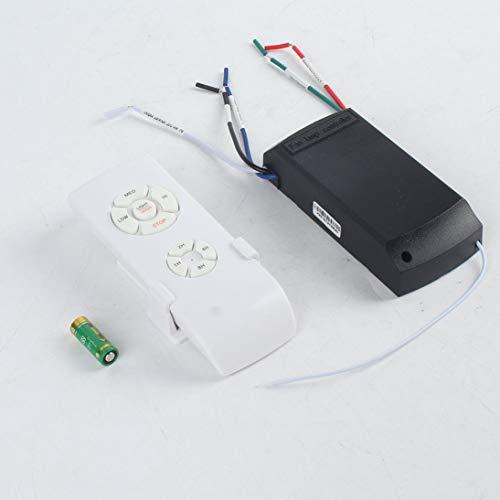 Lámpara de ventilador de techo universal con mando a distancia, 110-240 V, temporizador, interruptor de control inalámbrico, transmisor de velocidad del viento ajustable, color blanco