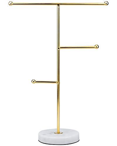KARAA Expositor Soporte para Joyas Mármol Soporte de Metal en Forma de T para Joyas para Pendientes Collares Anillos Pulseras de Relojes