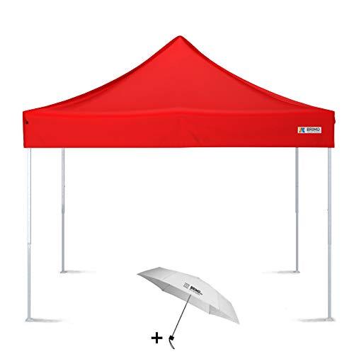 BRIMO Faltpavillon + Freier Regenschirm (3x3m, Rot)