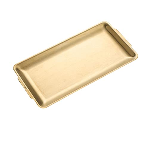 TGUS Golden rectangular tray, stainless steel jewelry tray, towel rack storage tray, desktop decoration display tray, cosmetics jewelry tray, for home kitchen reception(size:36.2 * 19.5 * 1.5cm)