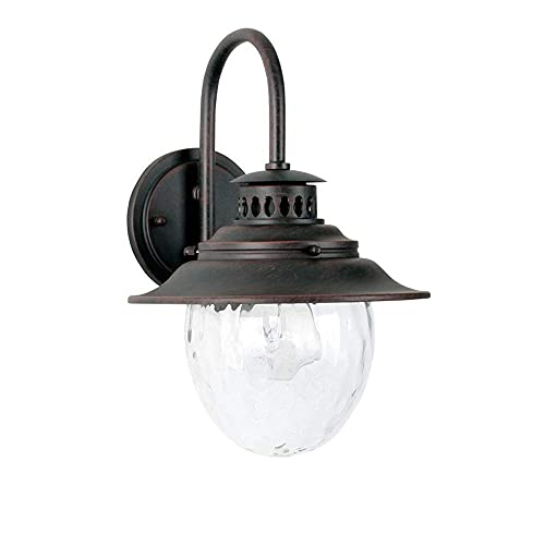 BJClight Lámpara de pared interior, cuello de cisne Lámpara de pared exterior impermeable Externa E27 Abrazadera Retro Industrial Aplique de pared Granero Lámpara plana Vintage Fa