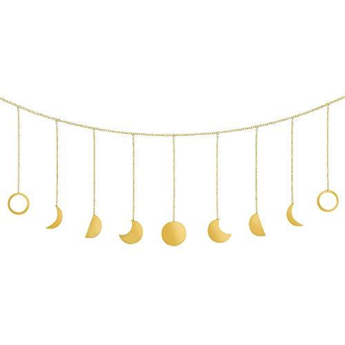 DEDC 1 pz Ghirlanda di Fasi Lunari con Catena Boho Ornamento Sospeso in Metallo Lunari Appeso da Parete Arte Arredamento di Stanza per Matrimonio Casa Soggiorno Ufficio Camera Dormitorio Oro