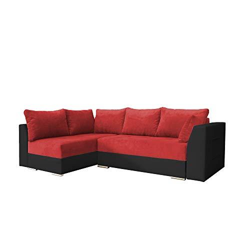 Canapé d'angle 4 places Rouge Tissu Design Confort