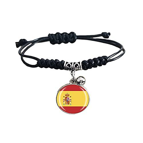 Pulsera trenzada de la bandera de España con cadena de nailon ajustable, pulsera de cristal de recuerdo, pulsera hecha a mano para hombre y mujer
