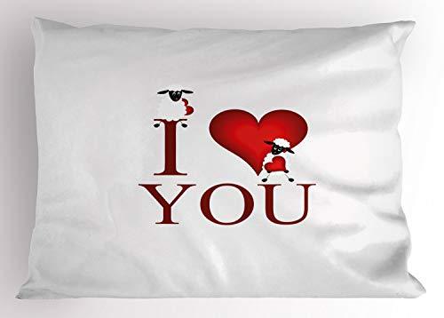 ABAKUHAUS Te Quiero Funda de Almohada, Ovejas y corazón Rojo, Decorativa Estampada Tamaño Standard King Size, 90 X 50 cm, Rojo Blanco