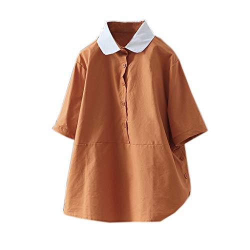 COZOCO Camisa De Algodón De Lino De Manga Corta Vintage para Mujer Botón Suelta Top Informal