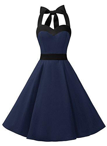 DRESSTELLS Damen Neckholder 1950er Vintage Retro Rockabilly Kleider Petticoat Faltenrock Cocktail Festliche Kleider Navy Black S