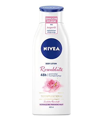 NIVEA Rosenblüte Body Lotion, Lotion mit Rosenblüten-Duft, sinnlich pflegende Körpercreme mit Arganöl natürlichen Ursprungs