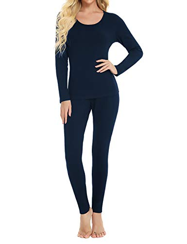 Locachy Cotton Thermal Underwear for Women Ultra Soft Long Johns Top & Bottom Set (Blue Purple, Medium)