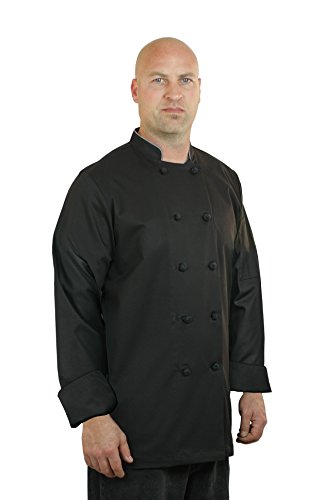 ASD Living Premium Sateen Black Long Sleeve, XX-Large Chef Coat
