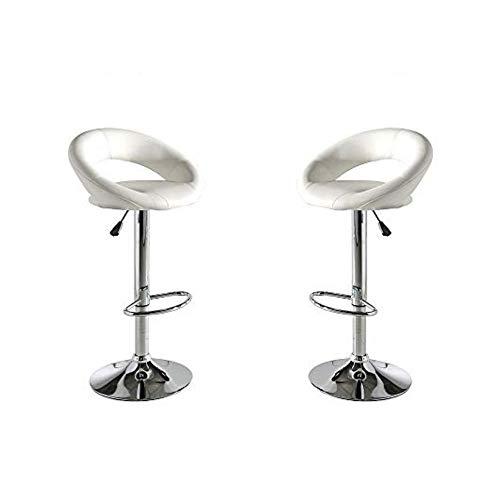 MOMMA HOME Set de 2 Taburetes de Asiento Elevado - Modelo Rey - Color Blanco/Plata - Material Ecopiel/Metal Cromado - Medidas 53 x 47 x 80 cm