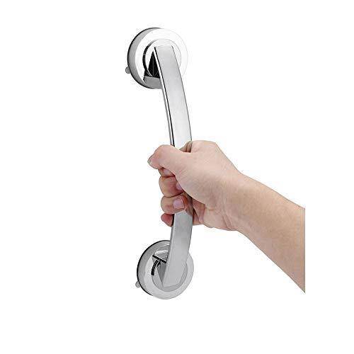 Barra de agarre con ventosa, mango de apoyo para baño, pasamanos de seguridad, barra de ducha, mango de ventosa para puerta, ventana, armario, color plateado