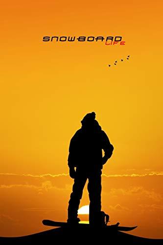 SNOWBOARD LIFE PUNKTRASTER NOTIZBUCH: 6x9 Zoll (ähnlich A5 Format) Notebook mit Snowboarder Sonnenuntergang Cover tolle Geschenkidee für Männer Frauen Kinder Boarder