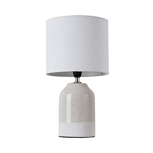 Pauleen Sandy Glow Tischleuchte max. 20W Tischlampe für E14 Lampen Nachttischlampe Beige Weiß 230V Keramik/Stoff ohne Leuchtmittel 48022