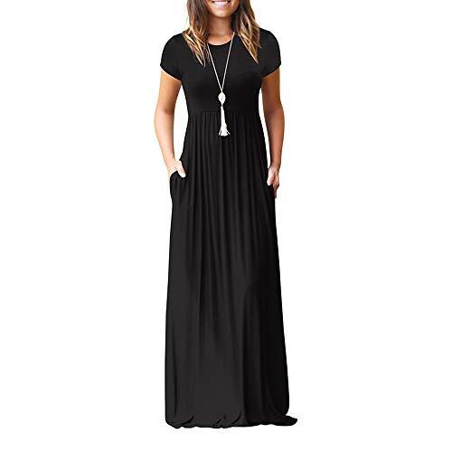 Xiangdanful Frauen Maxikleid Damen Sommerkleid Kurzarm Lange Kleid mit Tasche Casual Lose Strandkleider Beachwear Hohe Taille Ballkleid Einfarbig Einfach Party Dress Freizeitkleid (L, Schwarz)