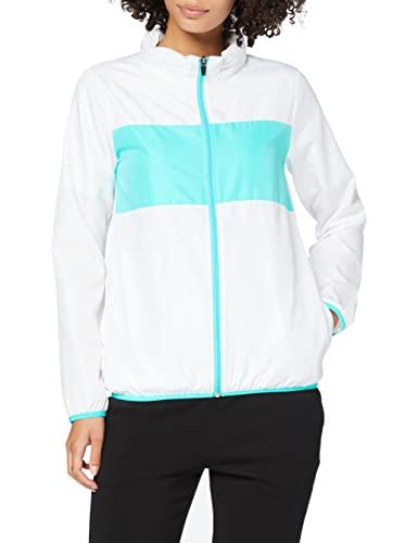 Marca Amazon - IRIS & LILLY Chaqueta Deportiva de Tafeta con Banda de Color para Mujer, Blanco (White/turquoise), S, Label: S
