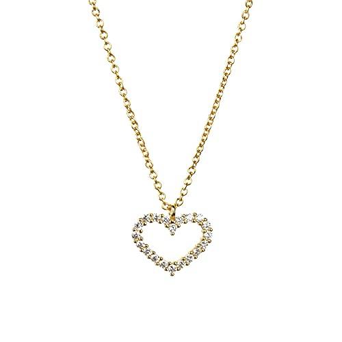 925 plata marrón púrpura colgante collar cadena larga con corazón pequeñas mujeres joyería para rock punk joyas-blanco