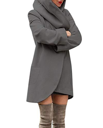 ACHIOOWA Mantel Damen Revers Langarm Offen Abgerunderter Wool Kapuzen Cardigan Einfarbig mit Taschen Grau-A01482 L