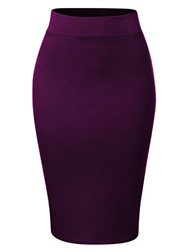 MixMatchy Women's Waist Band Midi Stretchy Ponte Basic Knee Pencil Skirt Dark Purple L