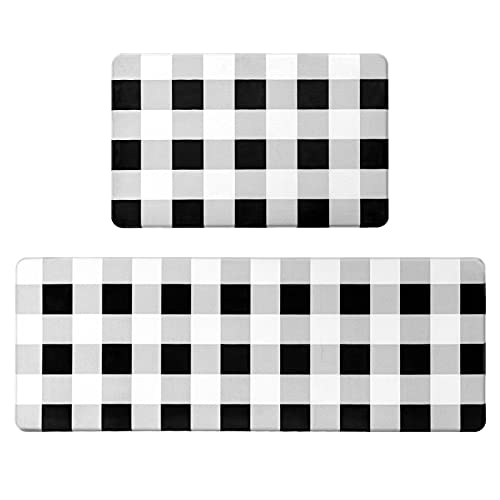 Kitchen Rugs 2 Pieces Cushioned Anti-Fatigue Floor Mat, Waterproof Non-Slip Kitchen Mats and Rugs Heavy Duty Comfort Standing Foam Mat for Kitchen, Office, Floor Home, Black White