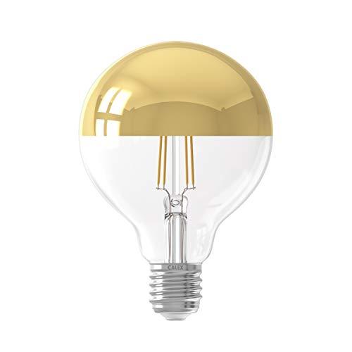 Calex 220-240V 4W 280 Lumen E27 G95 2300K Dimmbar LED Volles Glas Filament Kopspiegel, Gold, 425456 Globus Lampe, 4 W, Einheitsgröße