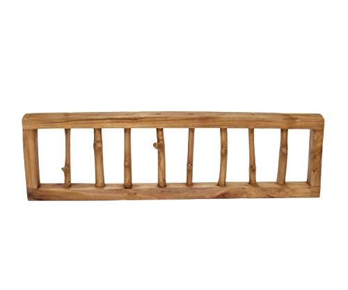 Brillibrum Design Natur Garderobenleiste Teakholz Äste als Haken Recyclingholz Vintage 8 Kleiderhaken Wandgarderoben Haken Teak Hängegarderobe Holz (8 Haken)