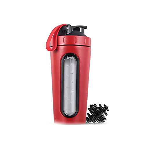 CREACEC Eiweiß Shaker, 700Ml Protein Shaker 304 Edelstahl Wasserflasche Getränk Pulver Milchmischer Für Outdoor Gym Sport Fitness Training Mit Messskala,Rot