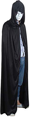 Mscara de Halloween Robe Capa Muerte de Halloween Negro Capa de Vestuario Prom Complementos Disfraz Mago (Color : Death Cloak+Street Dance Mask)