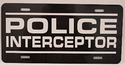 POLICE INTERCEPTOR METAL LICENSE PLATE 6X12 CROWN VICTORIA CHARGER SSP MUSTANG CAPRICE DETECTIVE PATROL P71 9C1 B4C POLICE NOVELTY GIFT GARAGE MAN CAVE BAR SHOP WALL ART SIGN FITS FORD CHEVY DODGE