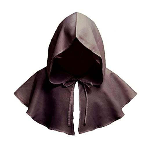 HUAQINEI Uni Vintage Cowl Suministros para Disfraces de Halloween Halloween Cosplay Capa con Capucha Accesorio Medieval Retro Cowl para Fiesta 1 Pieza Marrón