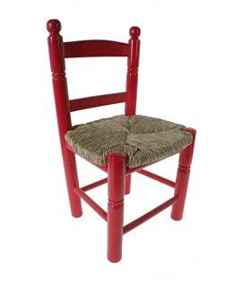 CAL FUSTER - Silla Infantil de Madera y Asiento de anea Color Rojo decoración habitación niño niña y Regalo Original. Medidas: 53x30x27 cm.