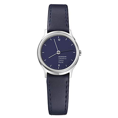 Mondaine Helvetica Light, Reloj de Cuero Negro para Mujer, MH1.L1140.LD, 26 MM