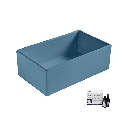 Sinkology SK499-30FC-MBU-AMZ Austen Farmhouse 30 in. Single Bowl Oceanside Matte Blue Care IQ Kit Fireclay Kitchen Sink