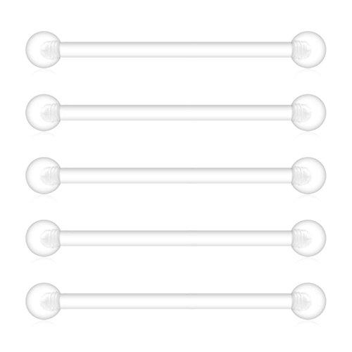 Briana Williams 5 Pezzi Gravidanza Sport maternità Trasparente Bioplast Flessibile 1.6mm Piercing da Ombelico Bottoni Corpo Gioielli Piercing Retainer 35mm