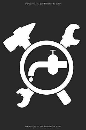 Signo de artesanía de fontanero: Plomero instalador logo símbolo regalos cuaderno punto cuadrícula punteada (formato A5, 15.24 x 22.86 cm, 120 páginas)